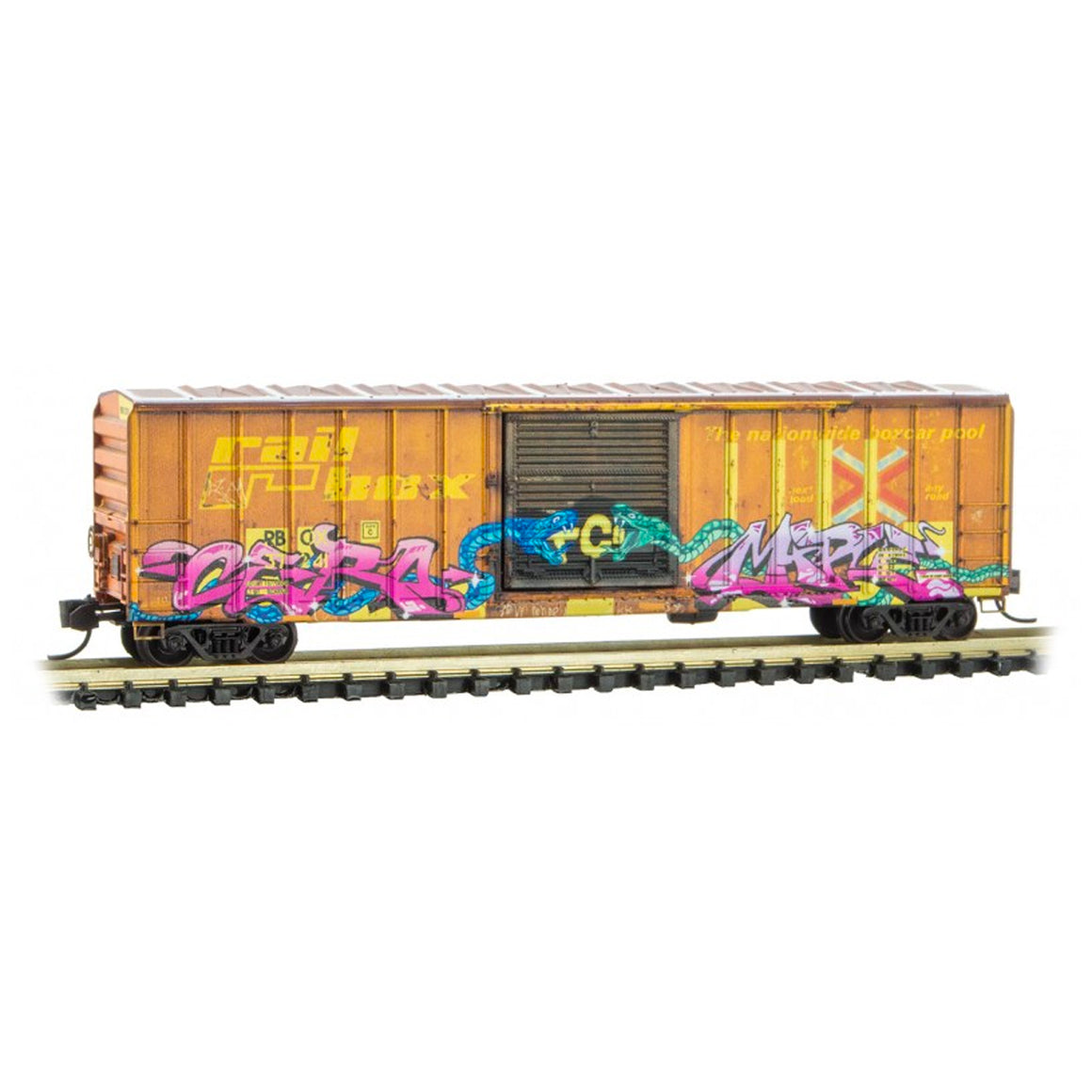 N Scale: 50' Rib Side Boxcar - Railbox 'Graffiti - National Pick Your Poison Day'