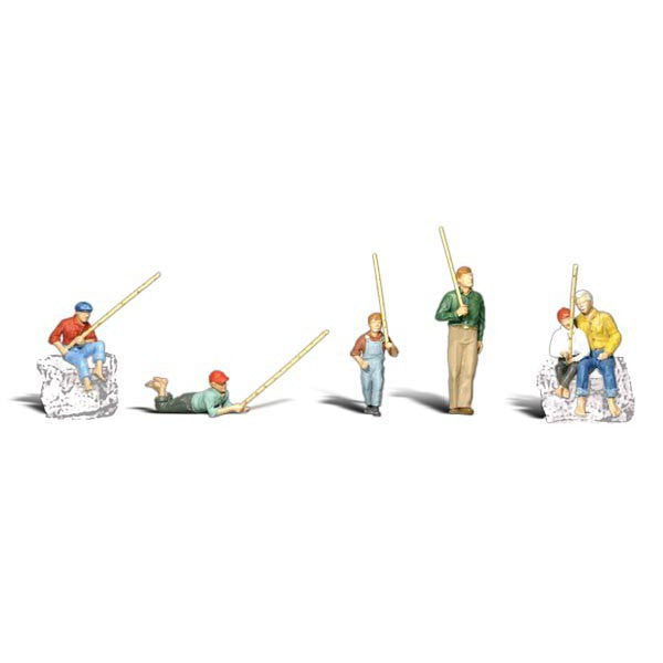 six men and boy fishing figurines