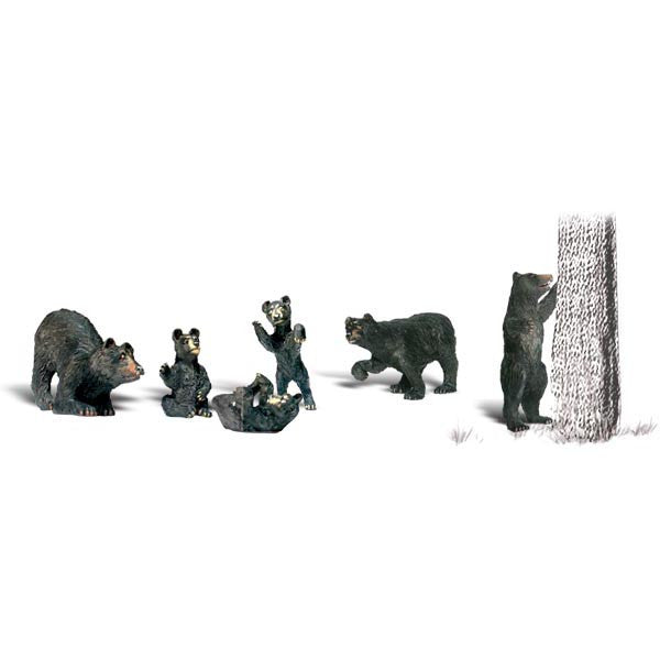 six black bear figurines