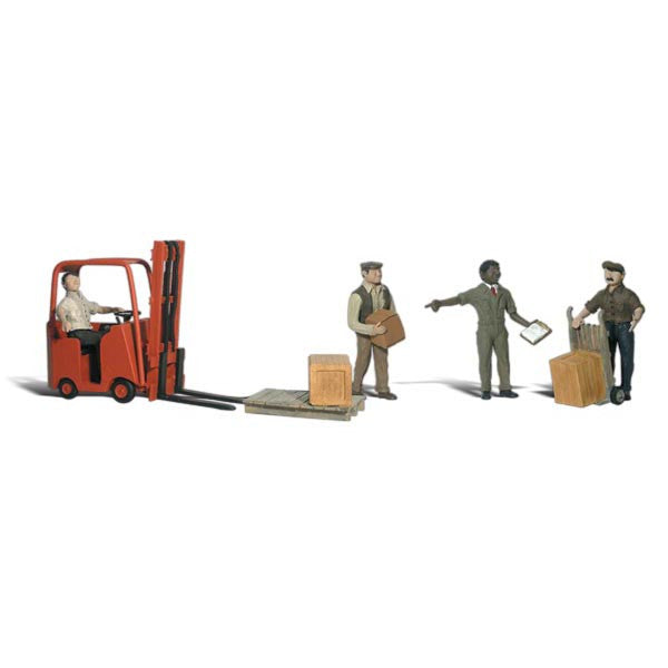 N Scale: Workers with Forklift