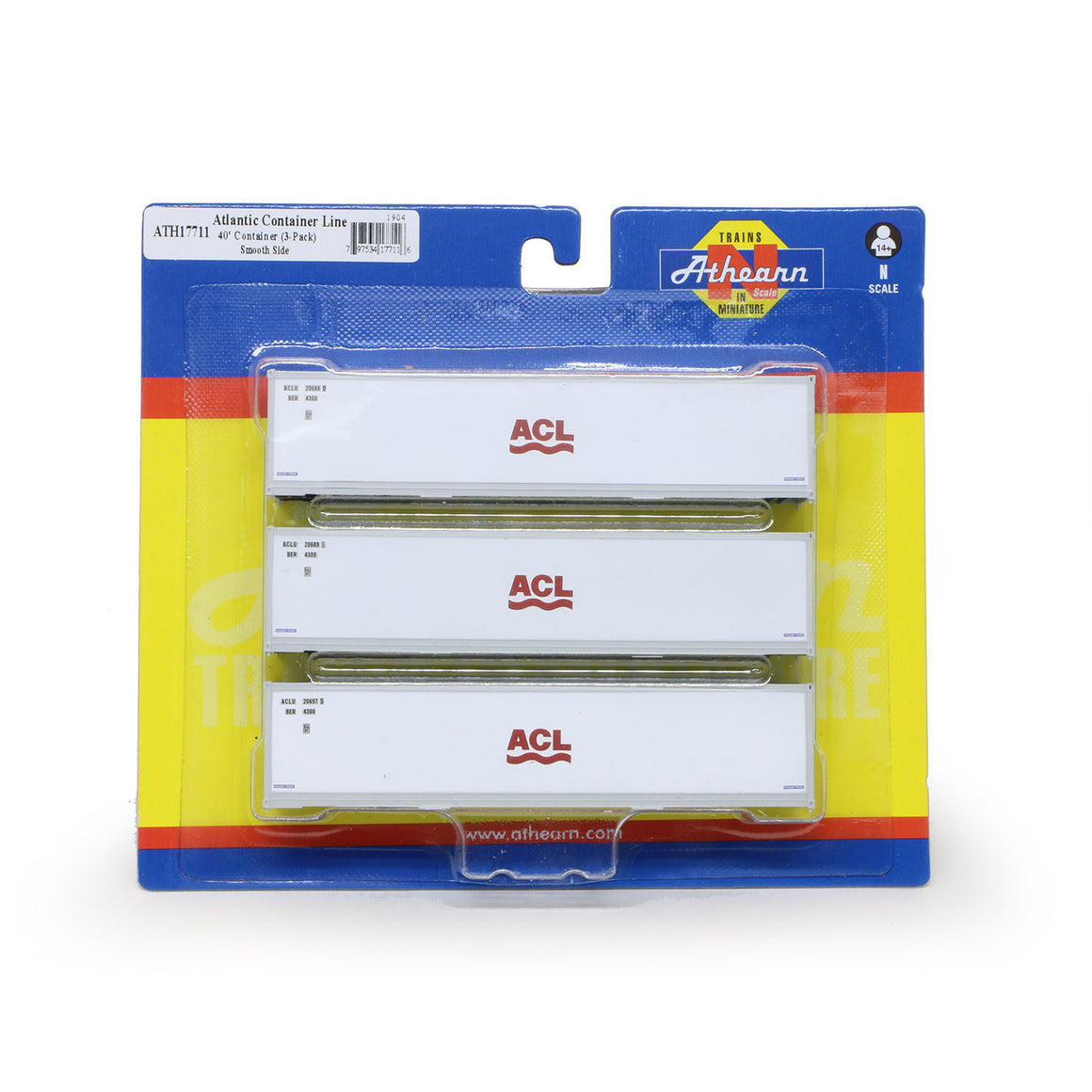 N Scale: 40' Smooth Side Container - ACL - 3 Pack