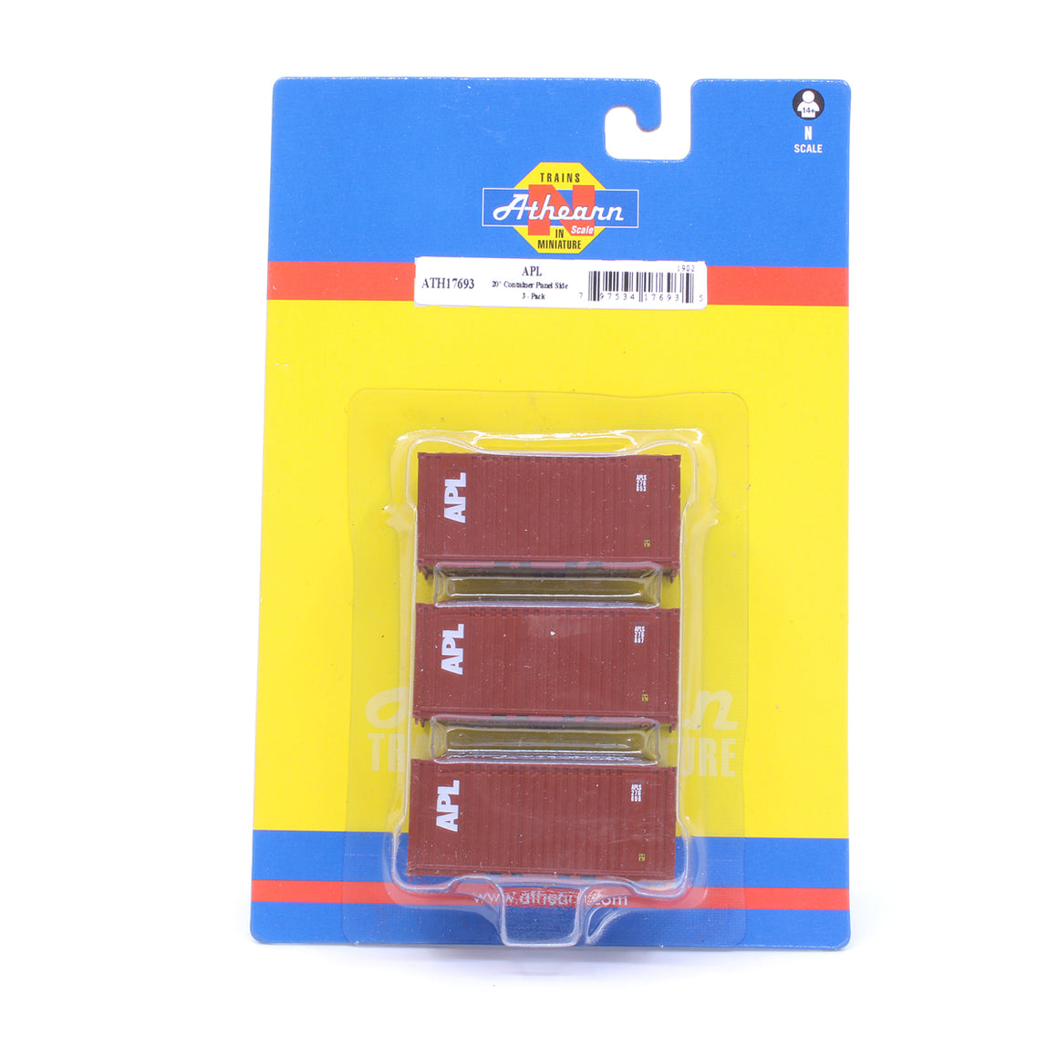 N Scale: 20' Corrugated Container - APL - 3 Pack