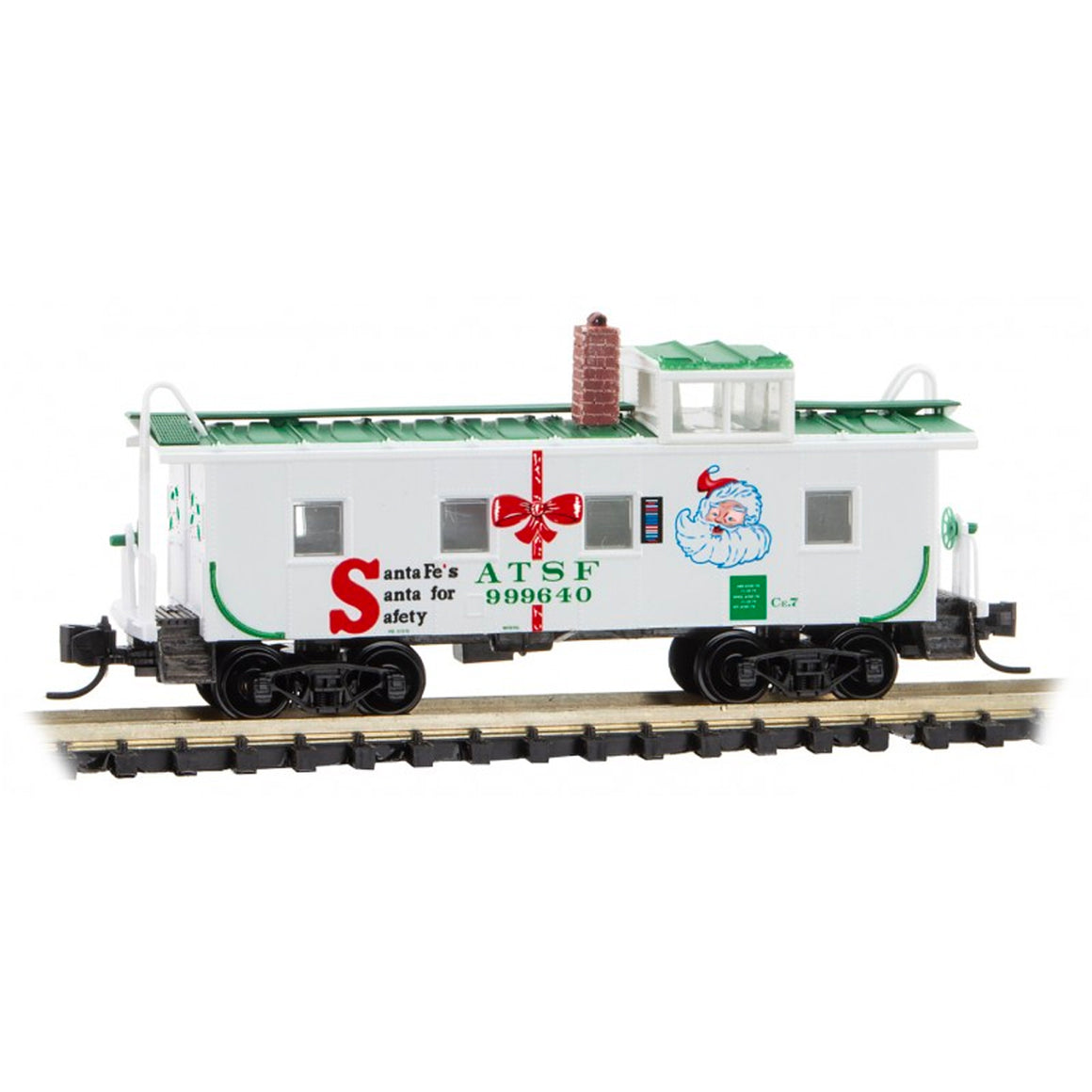 N Scale: 36' Riveted Steel Caboose - ATSF 'Santa for Safety'