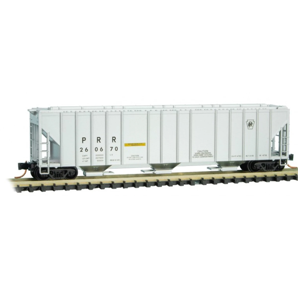 N Scale: 3-Bay Rib Side Covered Hopper - PRR