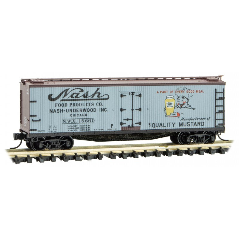 N Scale: 40' Double Sheathed Wood Reefer - Farm to Table - Nash Mustard