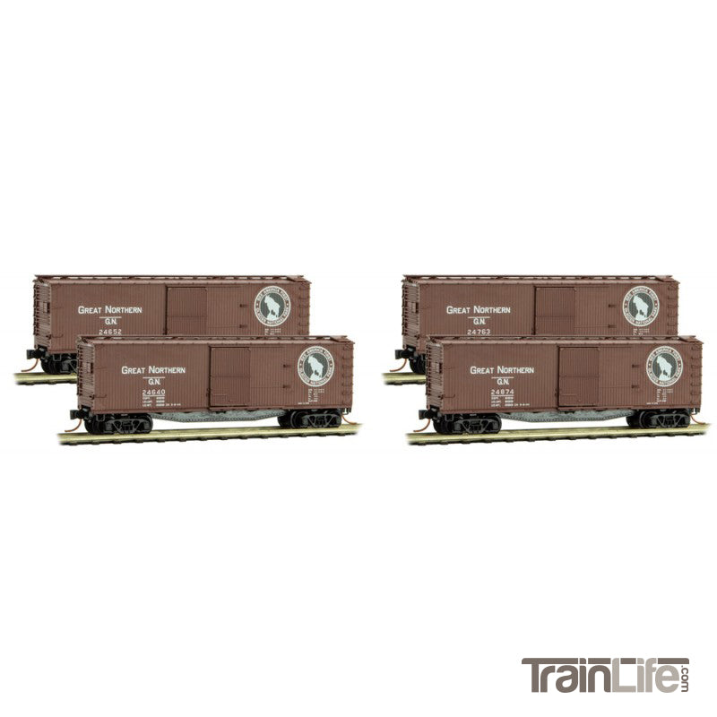N Scale: 40' Double Sheathed Wood Reefer - Great Northern - 4 Pack