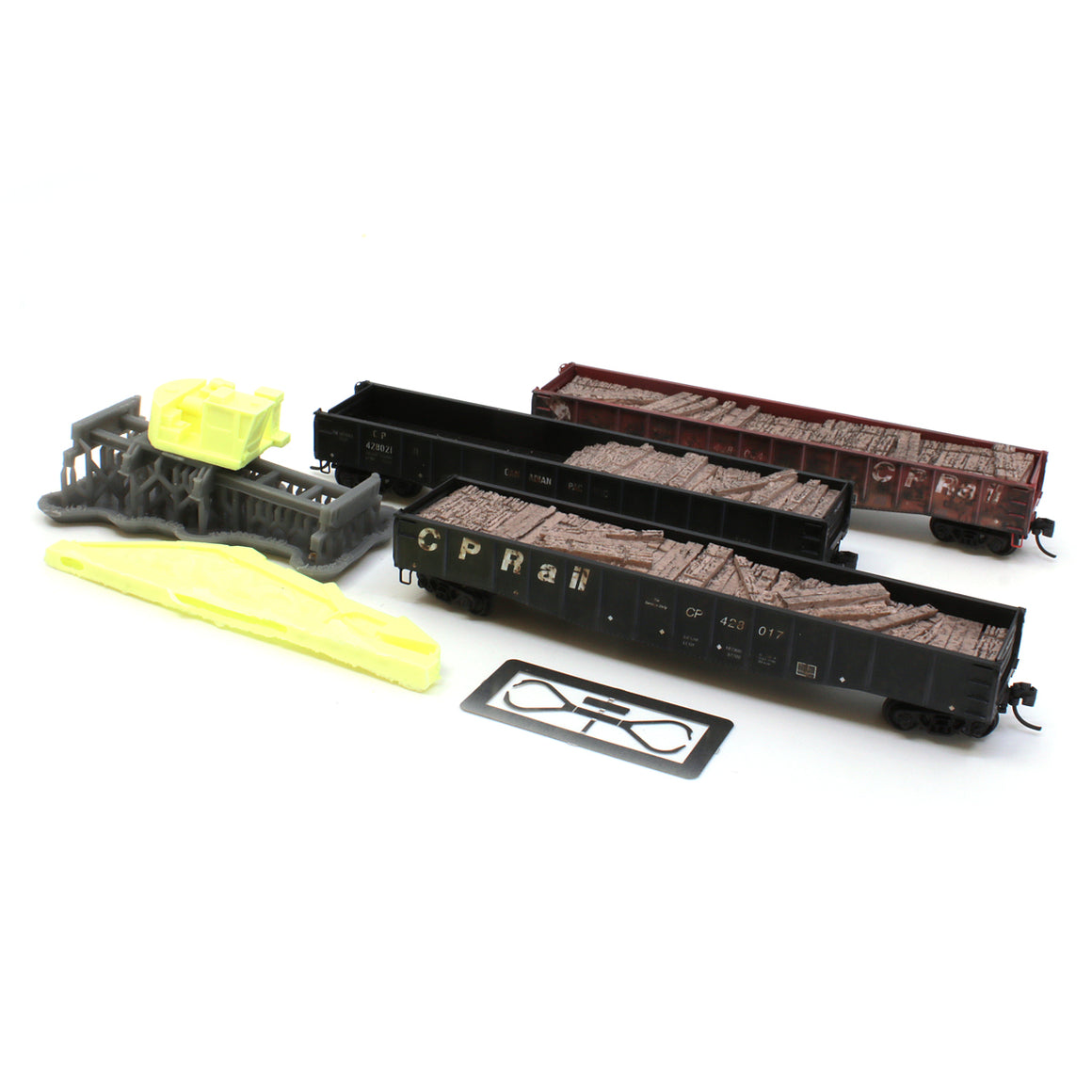 N Scale: Tie Loader - CP Rail 'Weathered' - 3-Pack