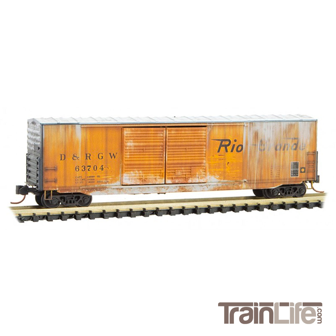 N Scale: 50-Foot Double-Door Boxcar - D&RGW 'Weathered'