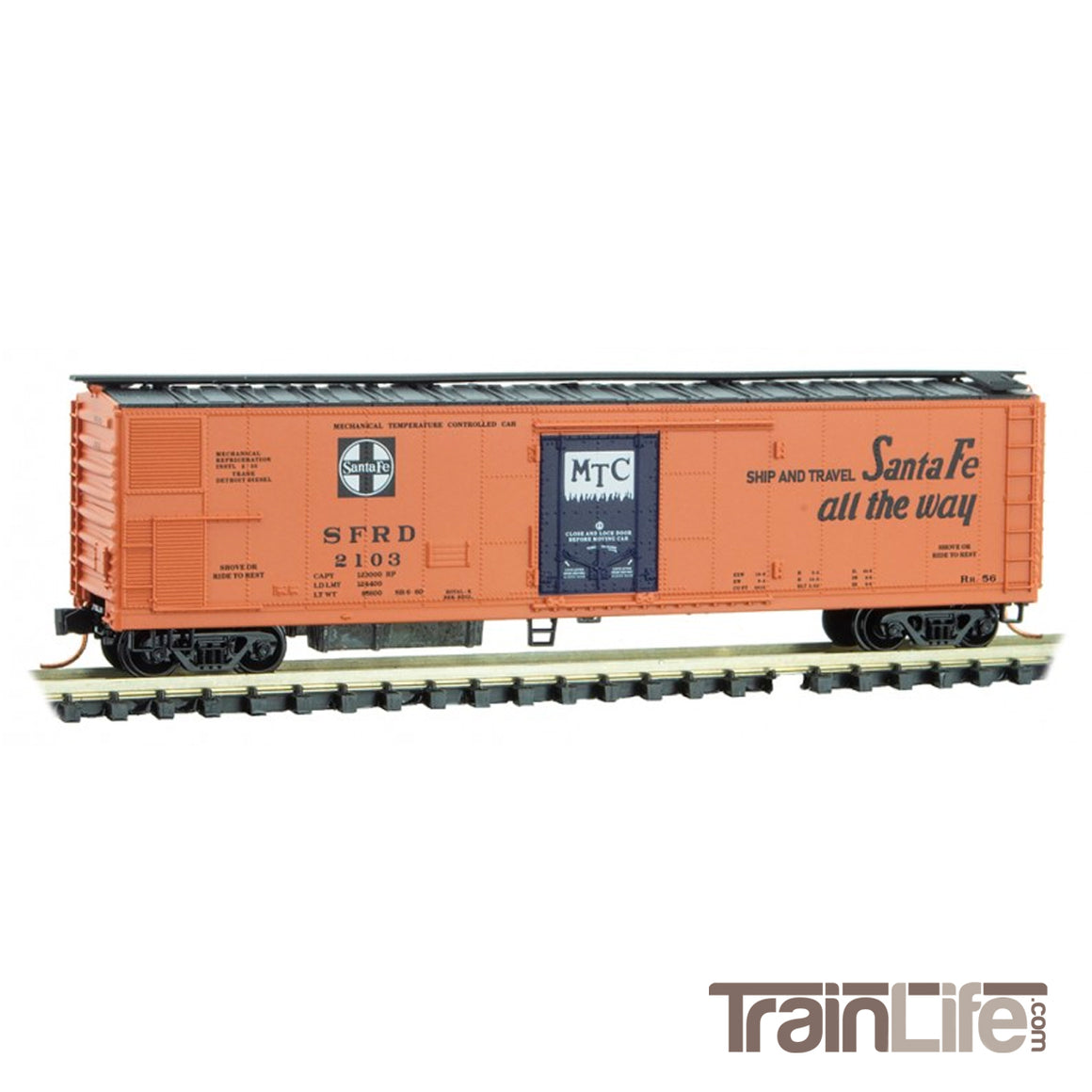 N Scale: 51' Rivet Side Mechanical Reefer - ATSF 'Route of the El Capitan'