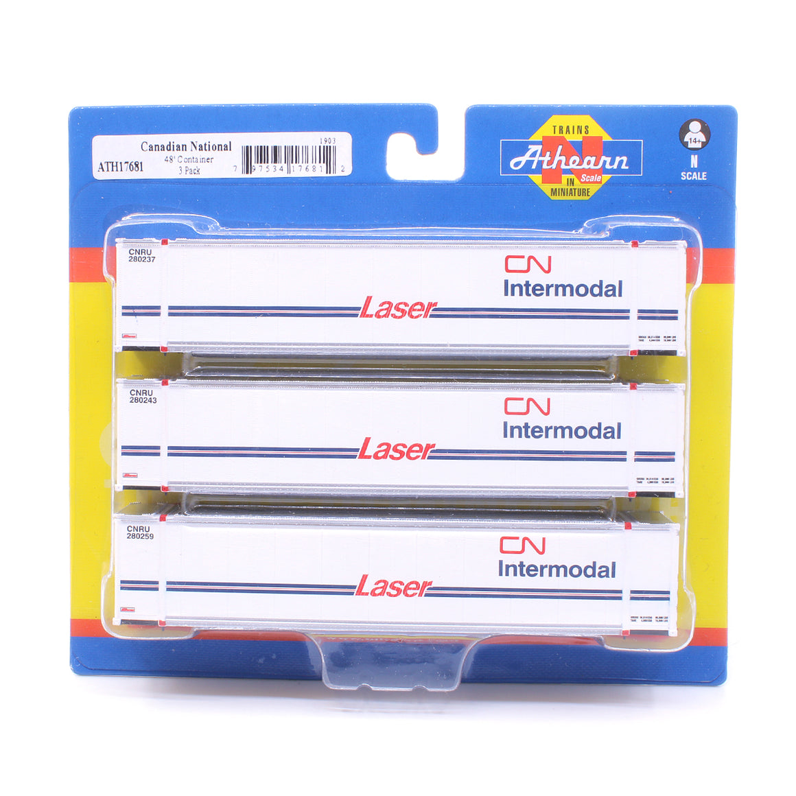 N Scale: 48' Container - Canadian National - 3 Pack