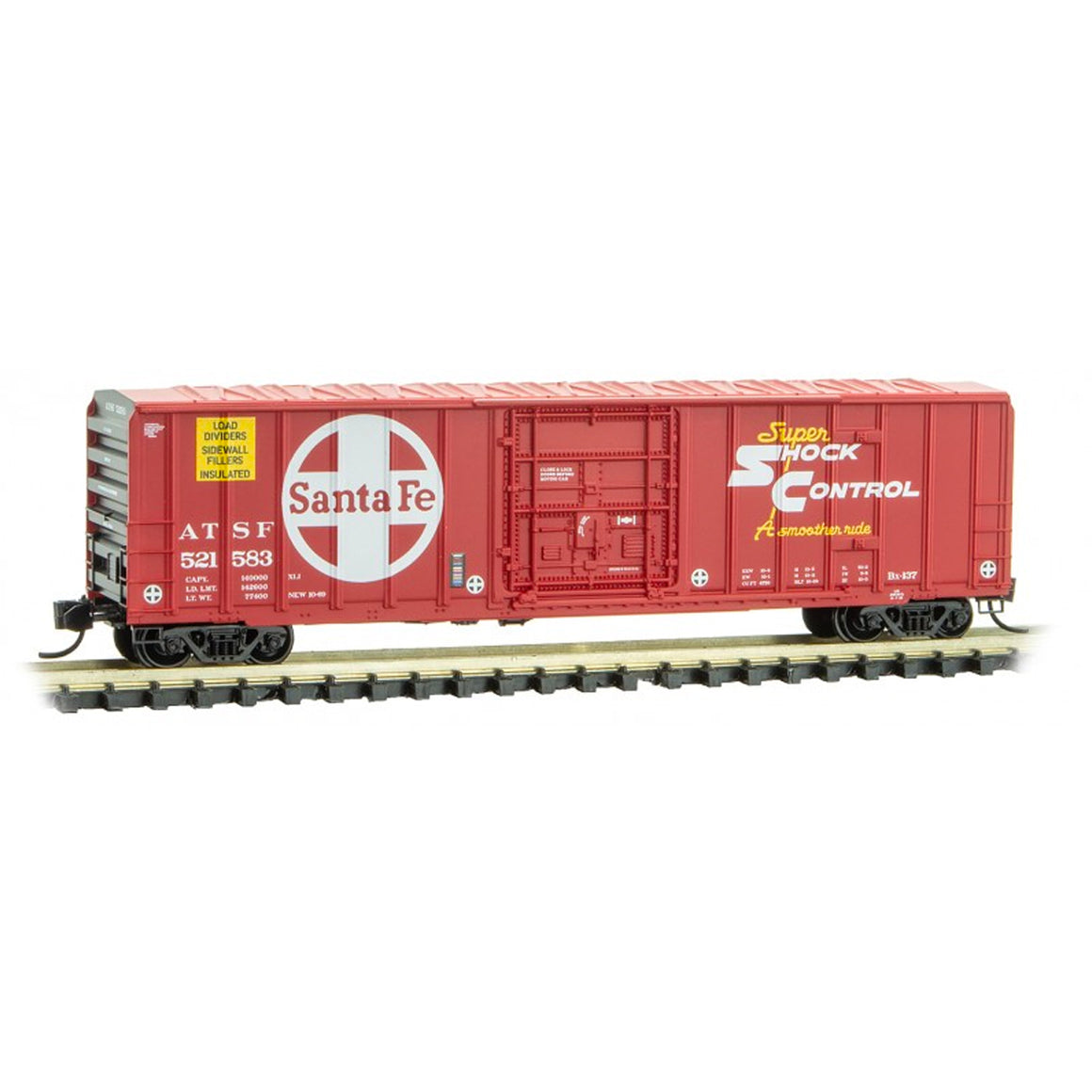 N Scale: 50' Rib Side Plug Door Box Car - ATSF