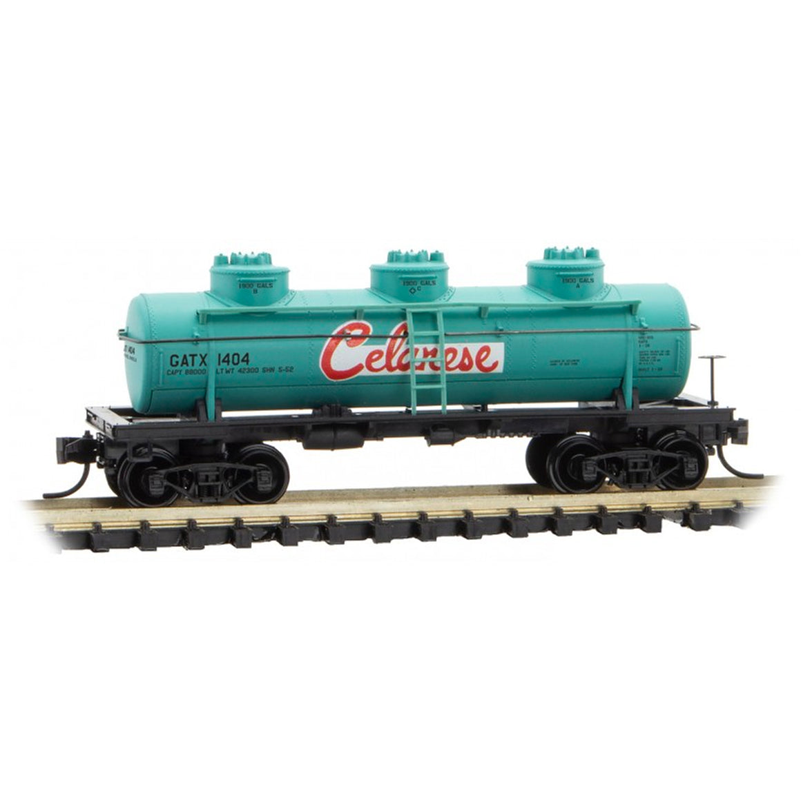 N Scale: 3-Dome Tank Car - Celanese