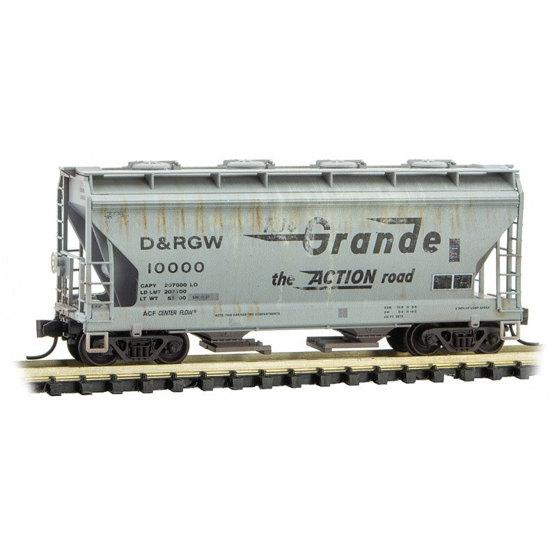 N Scale: 2-Bay Covered Hopper - DRGW 'Weathered' - 2 Pack