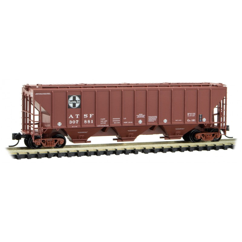 N Scale: 3-Bay High Side Covered Hopper - Santa Fe