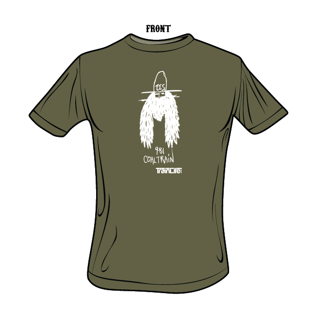 Moniker tees: Coal Train - White on Military Green