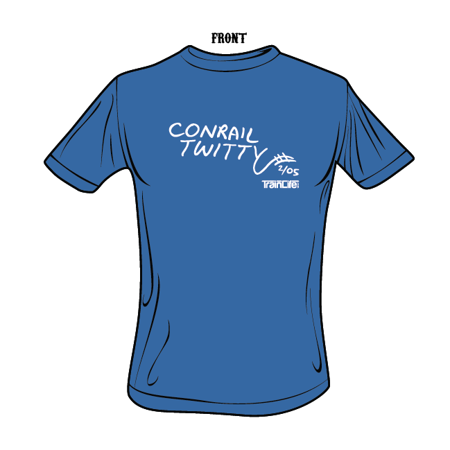 Moniker tees: Conrail Twitty - White on Royal Blue