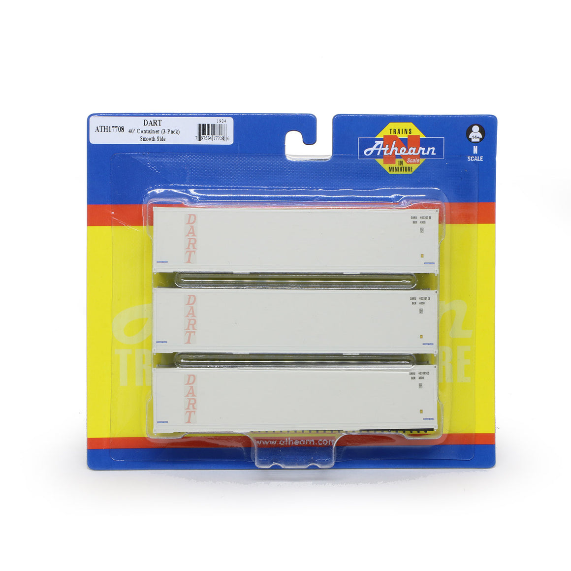N Scale: 40' Smooth Side Container - DART - 3 Pack