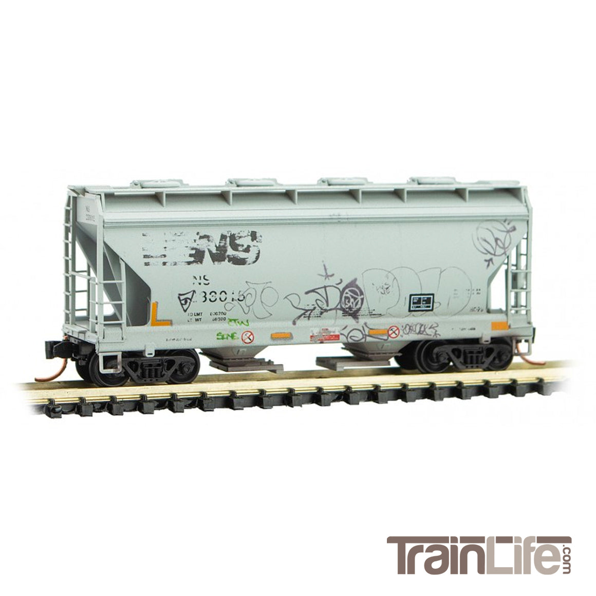 N Scale: 2-Bay Covered Hopper - Norfolk Southern 'Weathered' - 2 Pack