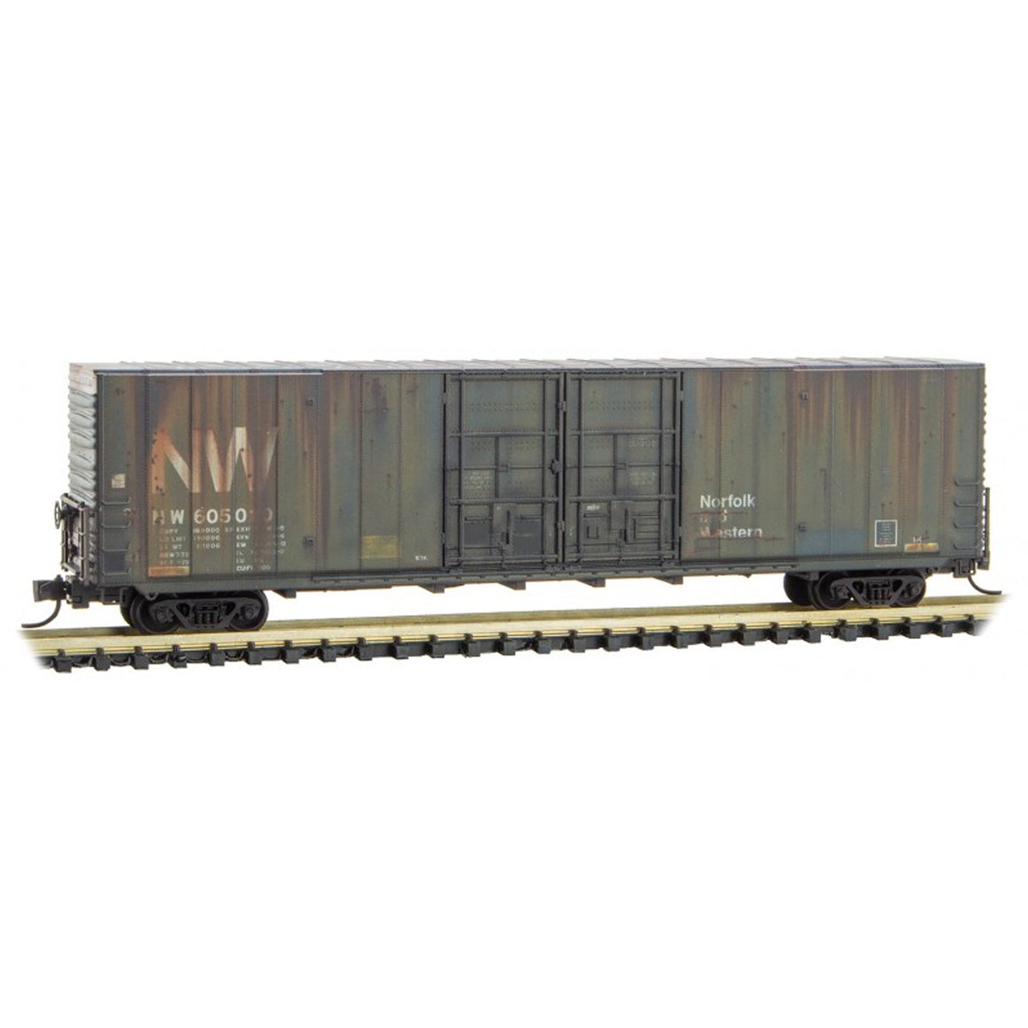 N Scale: 60' Excess Height Boxcar - Norfolk & Western - Weathered