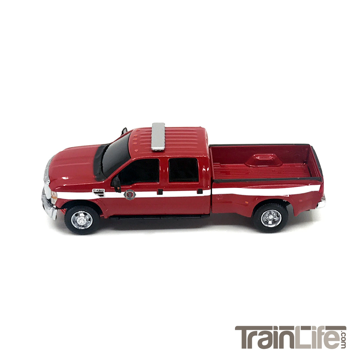 HO Scale: Lighted Ford F350 Crew Cab Dually Truck - Fire Department 'White Stripes'