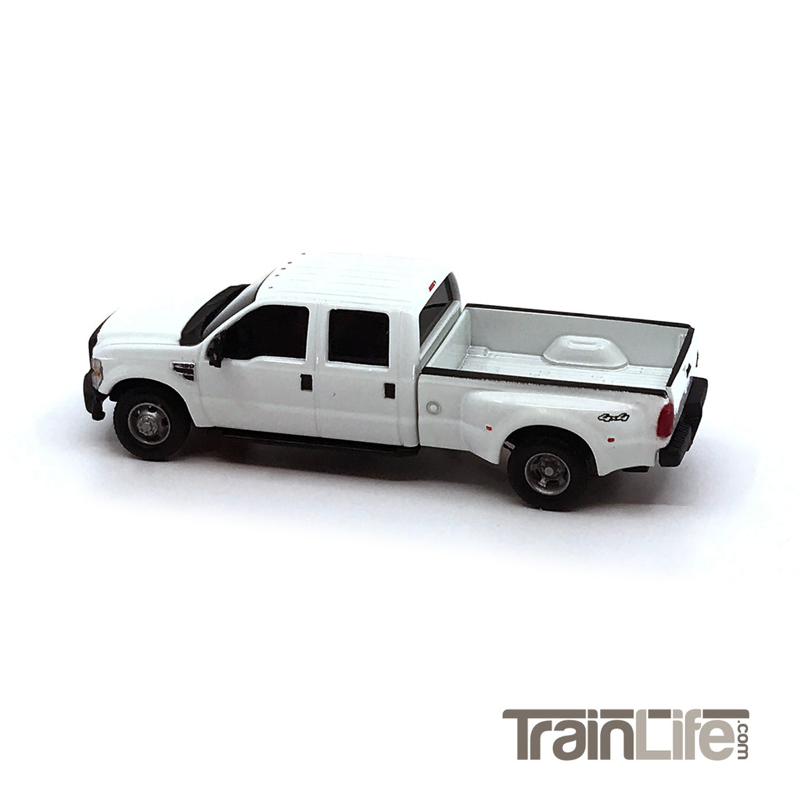 HO Scale: Lighted Ford F350 Crew Cab Dually Truck - White