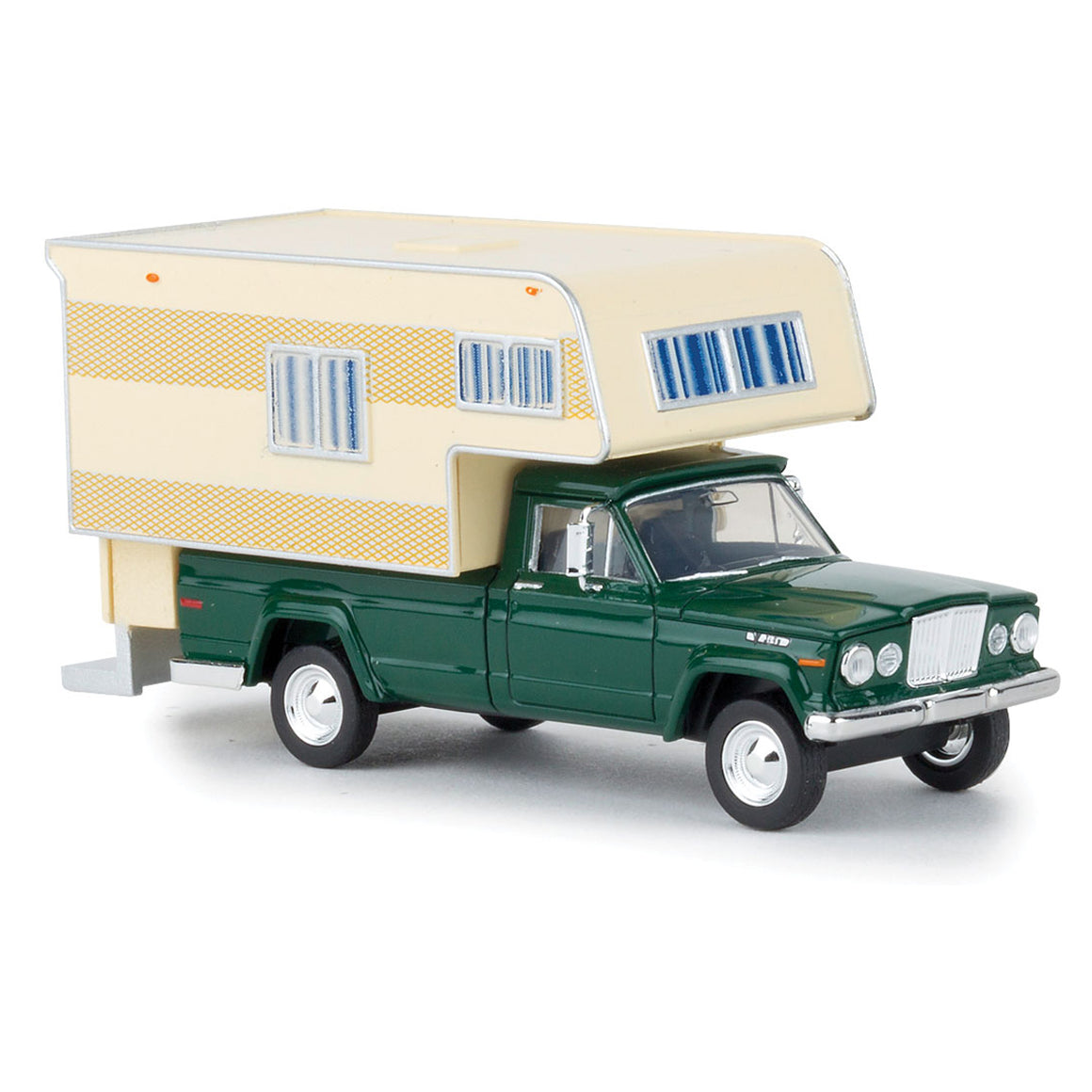 HO Scale: 1962 Jeep Gladiator Pickup Truck w/ Camper - Green