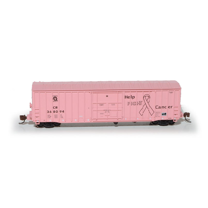 N Scale: Pennsylvania 50' Boxcar, Class X58 - Conrail 'Fight Cancer'