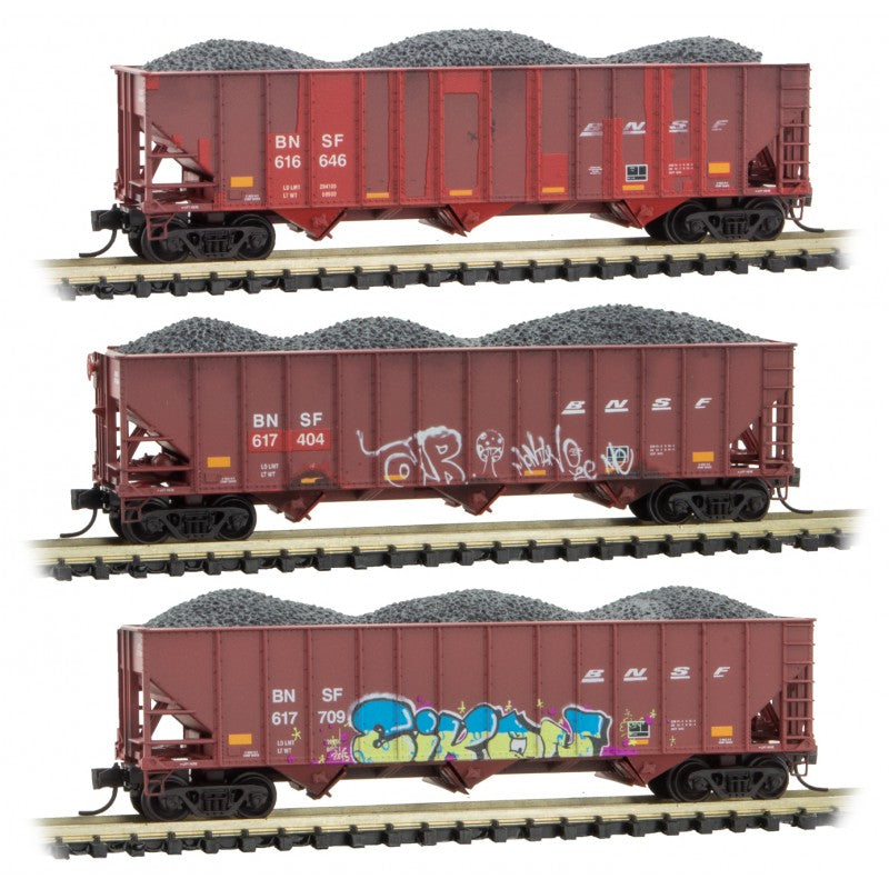 N Scale: 100-Ton 3-Bay Open Hopper w/ Load - BNSF 'Graffiti' - 3 Pack