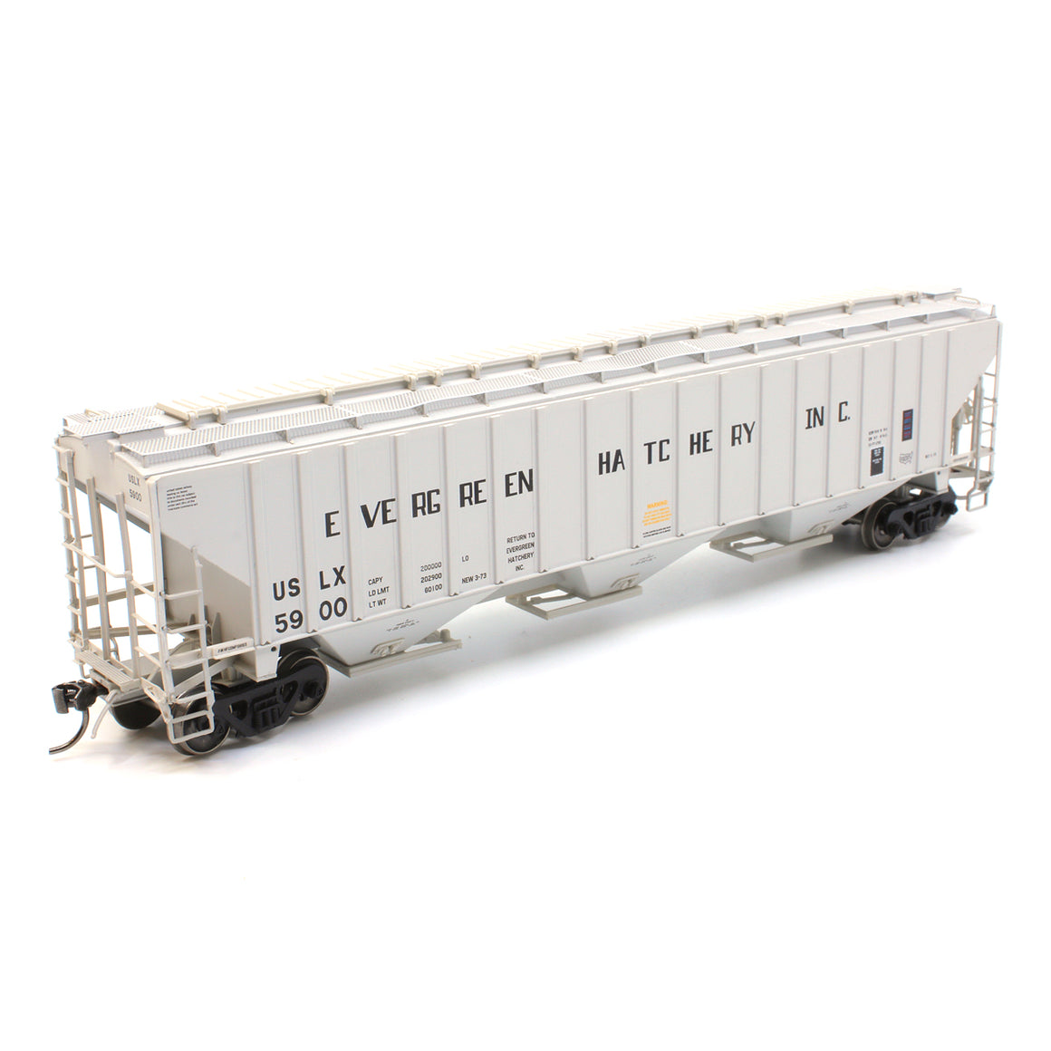 HO Scale: 4750 Cubic Foot 3-Bay Rib-Sided Covered Hopper - Evergreen Fish Hatchery Inc.