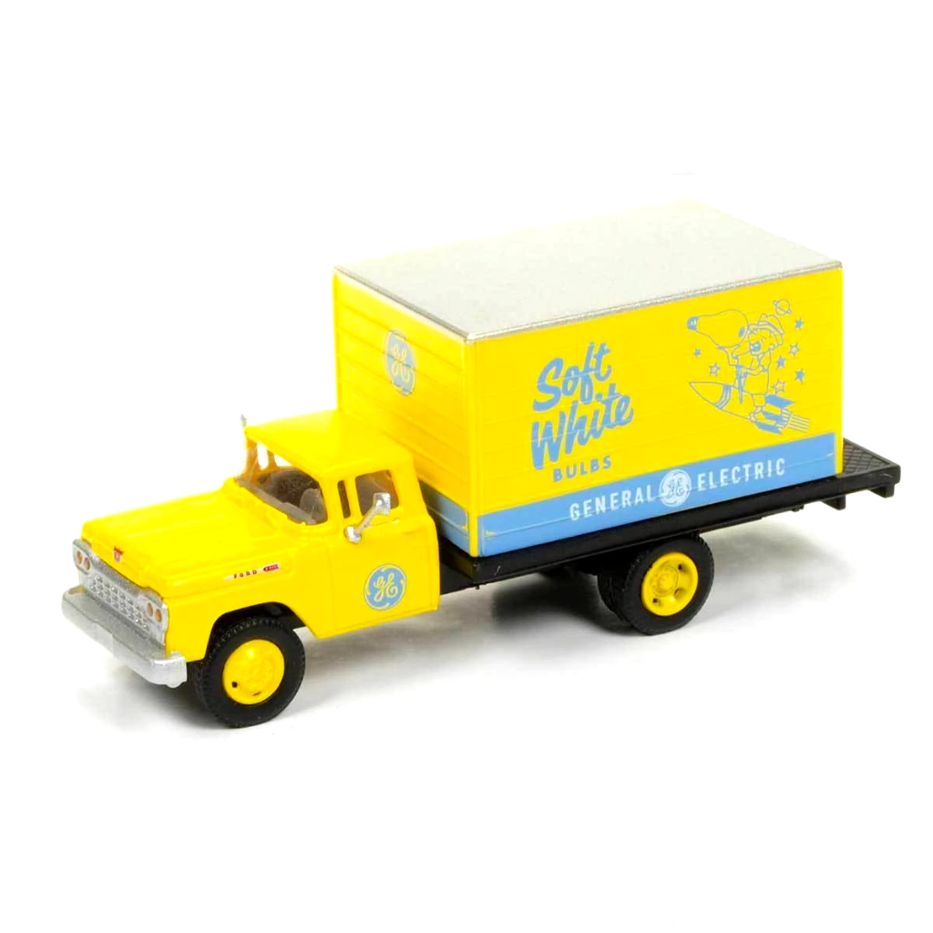 "HO Scale: 1960 Ford F-500 Box-Body Delivery Truck - GE ""Soft White Bulbs"""