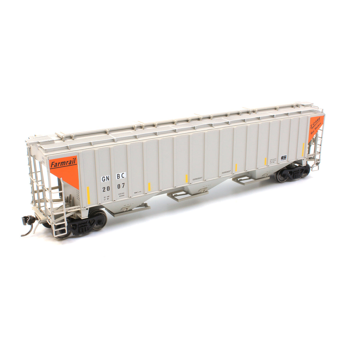HO Scale: 4750 Cubic Foot 3-Bay Rib-Sided Covered Hopper - Farmrail 'I Care' Series