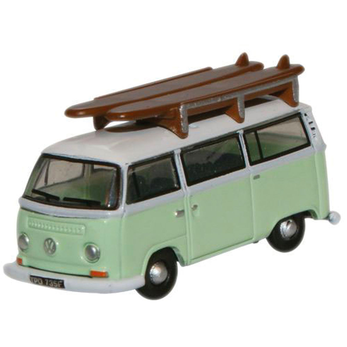 N Scale: Volkswagen Minibus - Birch Green with Surfboards