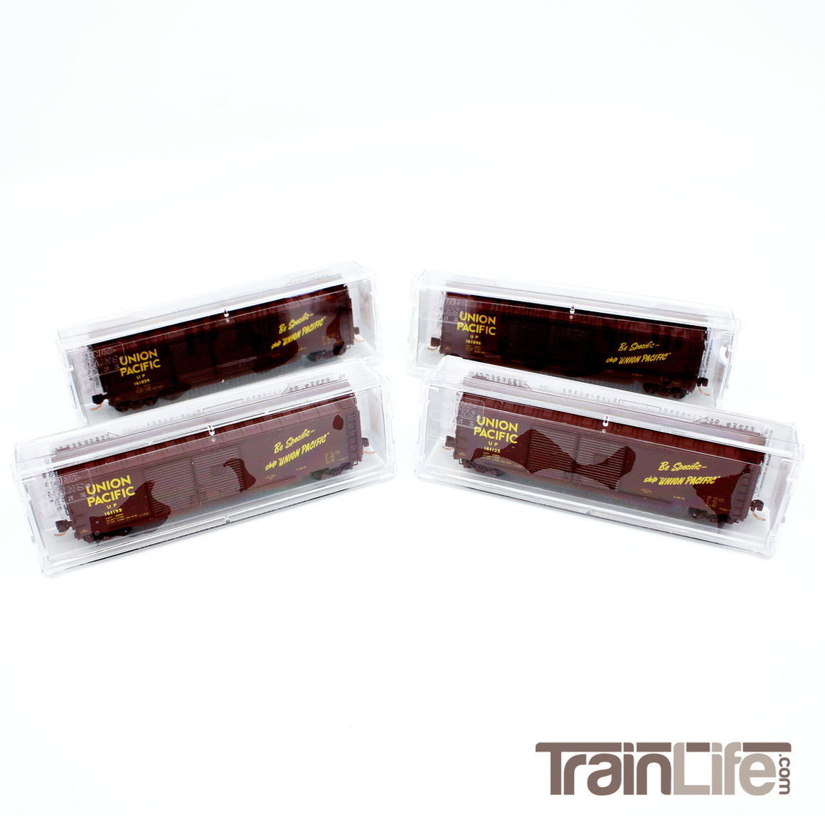 N Scale: 50' Standard Double-Door Boxcar - Union Pacific -  4-Pack