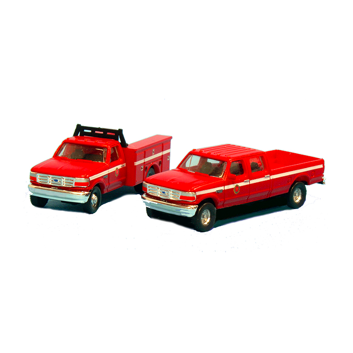 N Scale: 1992 Ford F-350 Service Truck & F-250 Crew Cab Pickup Matched Sets - Fire Department
