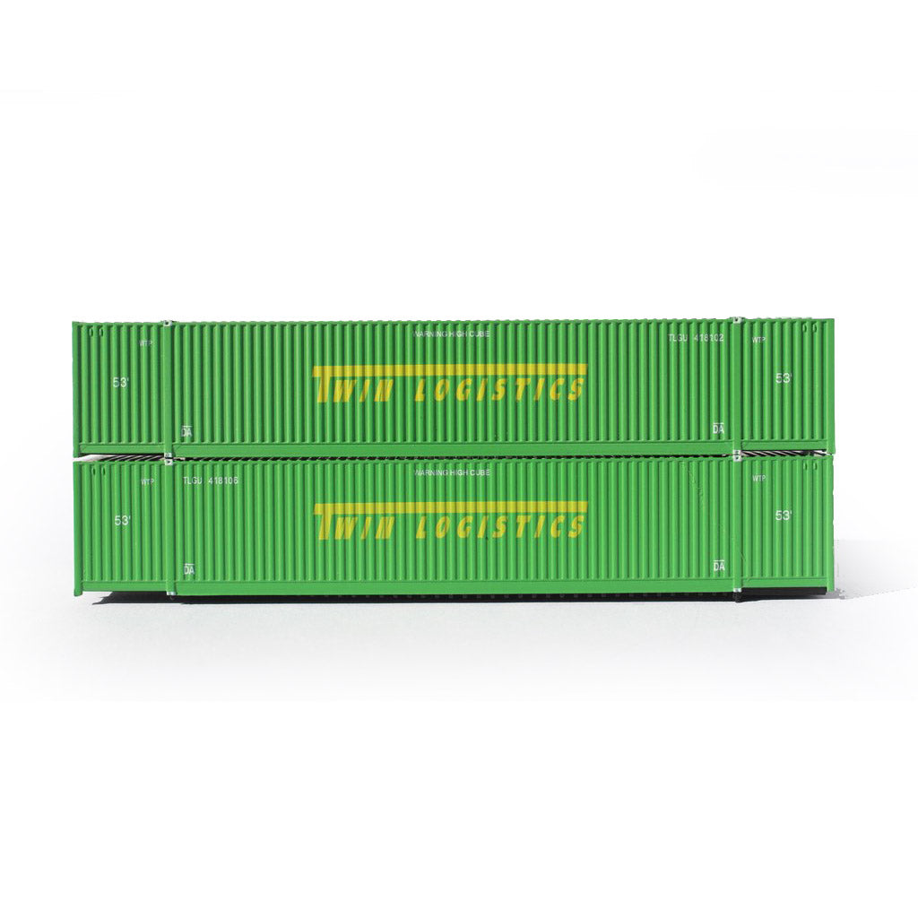 N Scale: 53' High Cube Corrugated Container - Twin Logistoics - 2 Pack