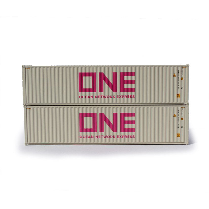 N Scale: 40' High Cube Container - ONE 'Gray' - 2 Pack