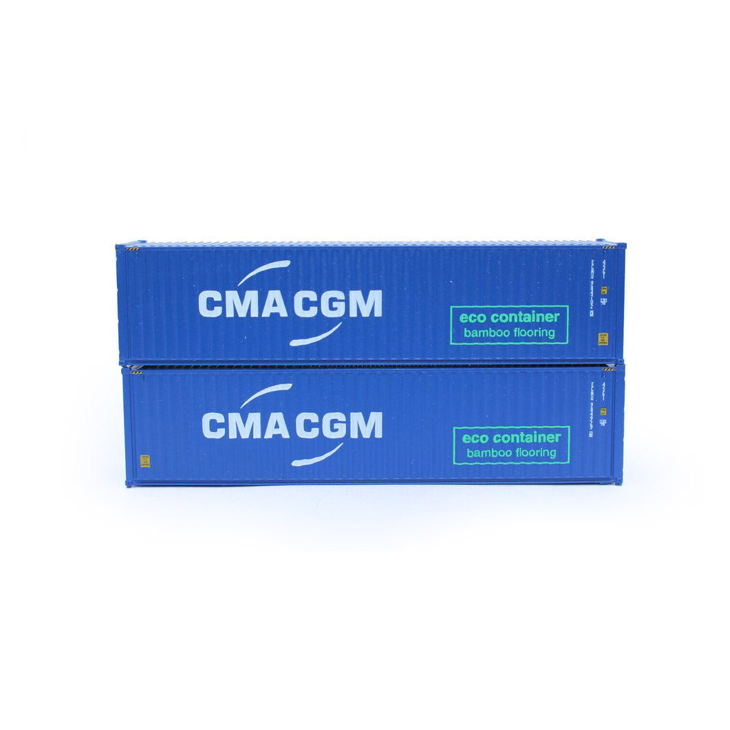 N Scale: 40' High Cube Container - CMA CGM 'Eco-Container' - 2 Pack