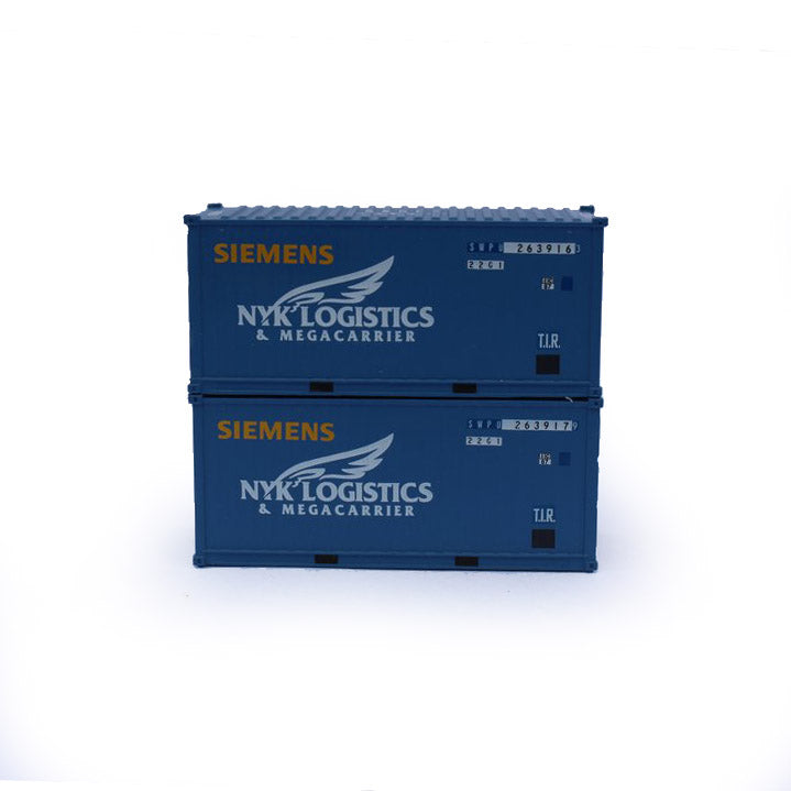 N Scale: 20' Standard Height Container - Siemens Wind Power 'NYK Container' - 2 Pack