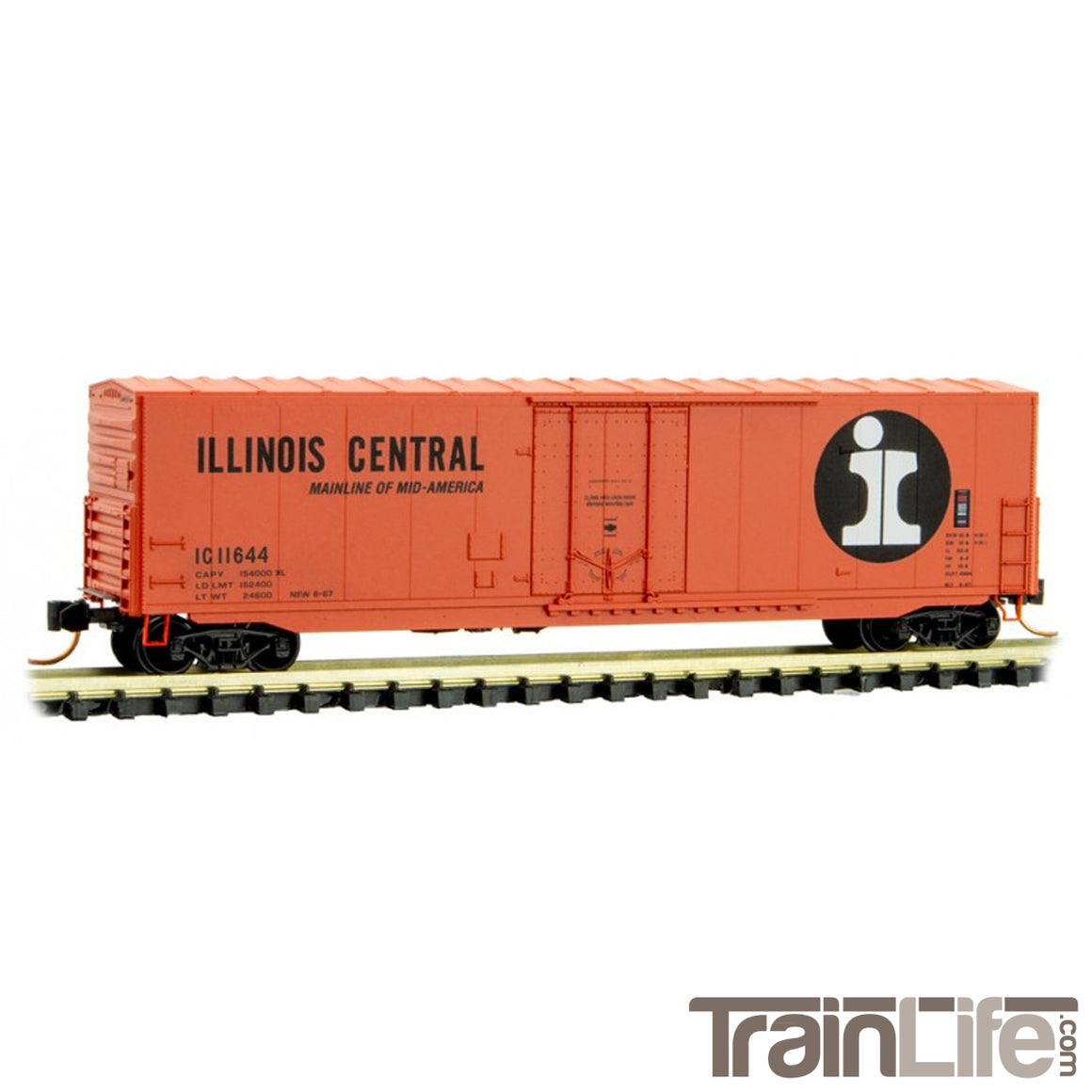 N Scale: 50' Standard Plug-Door Boxcar - Illinois Central