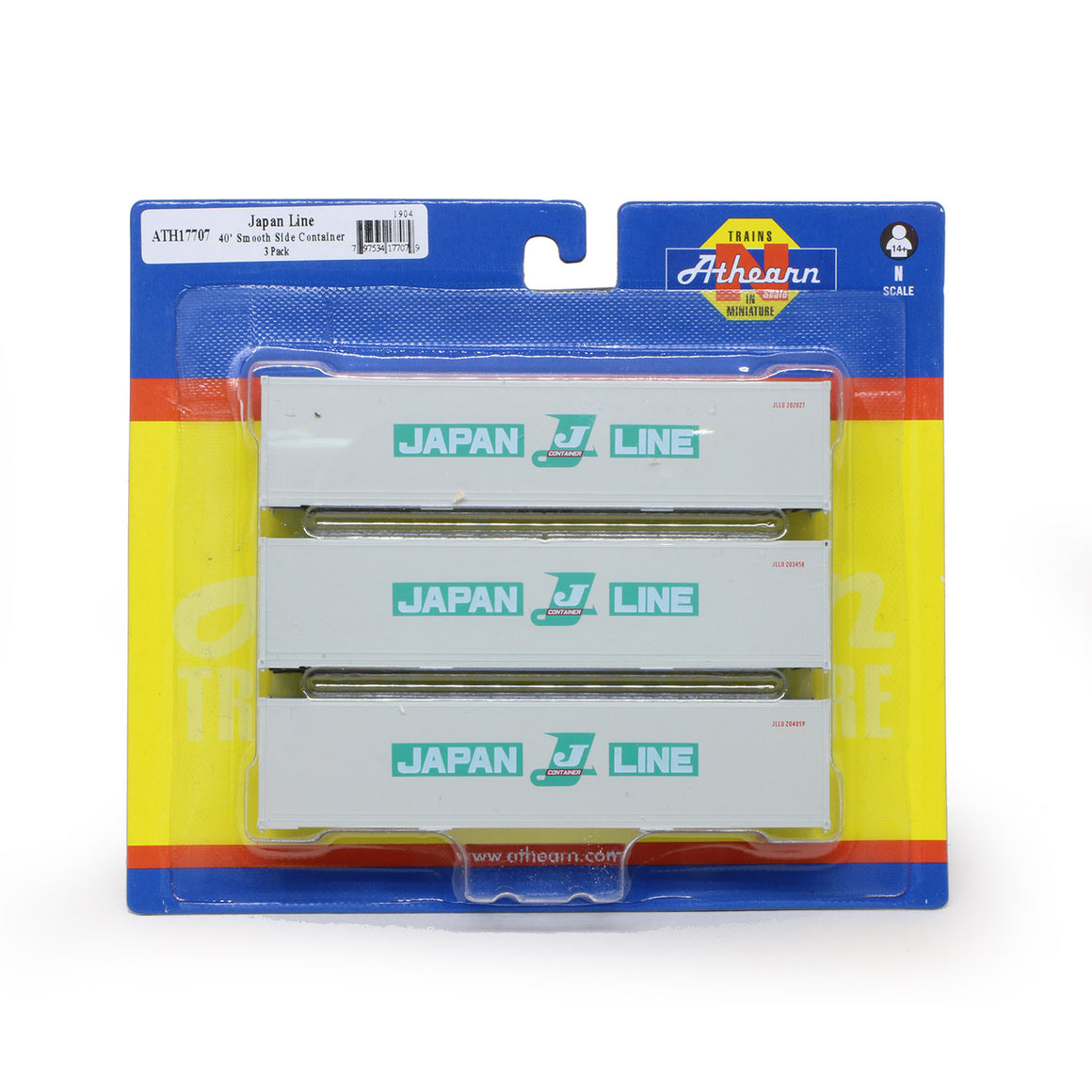 N Scale: 40' Smooth Side Container -  Japan Line - 3 Pack