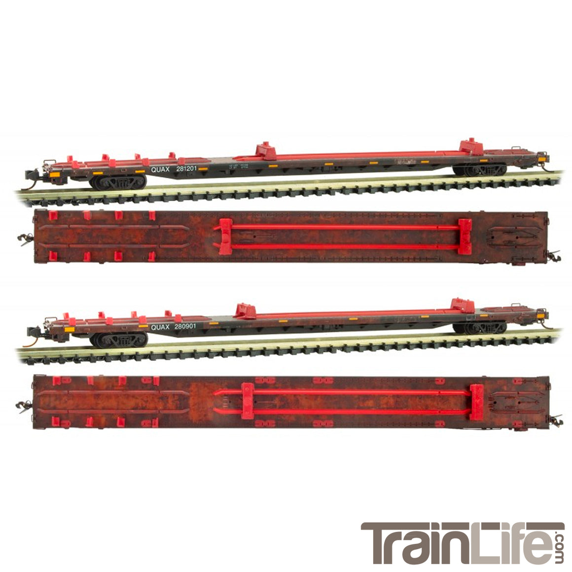 N Scale: 89' Salvage Flat Car - QUAX - 2 Pack