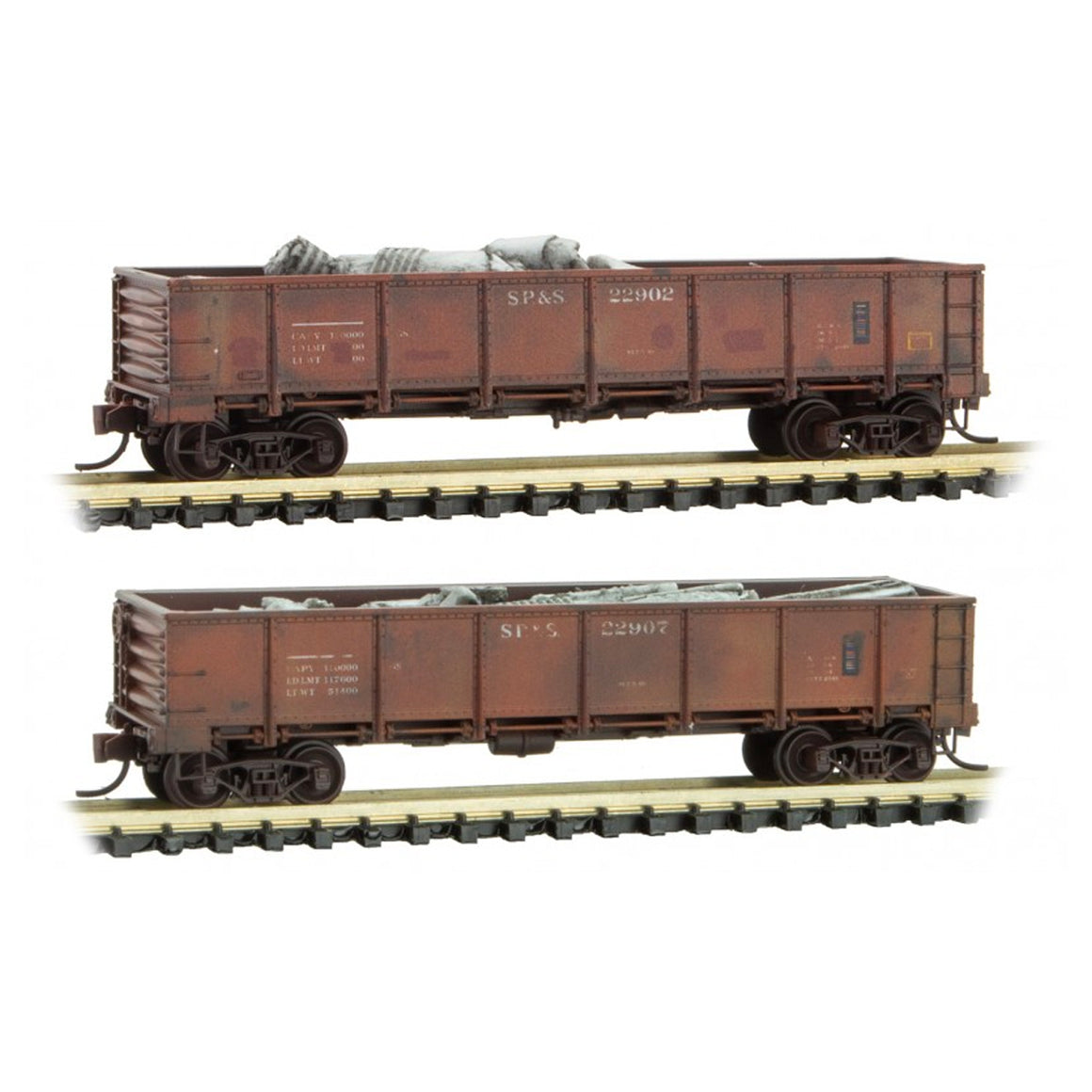 N Scale: Drop Bottom Gondolas - Weathered - SP&S - Two-pack