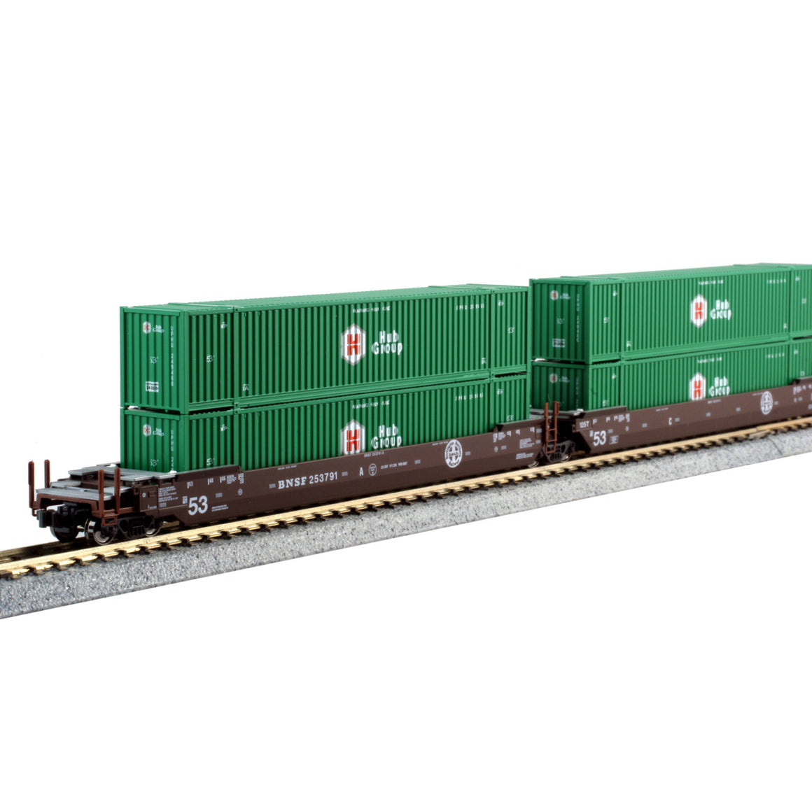 N Scale: Gunderson Maxi-IV Articulated Well Car w/ Containers- BNSF 'Original Logo'