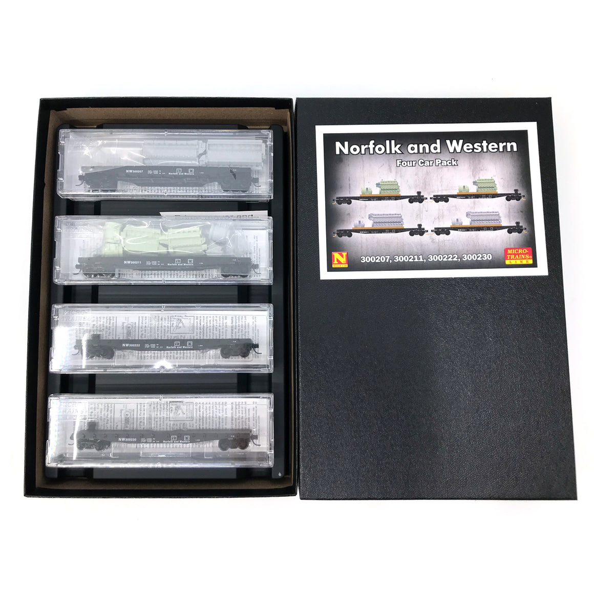 N Scale: N Scale: 50' Fishbelly Flatcar - Norfolk & Western - 4 Pack w/Loads