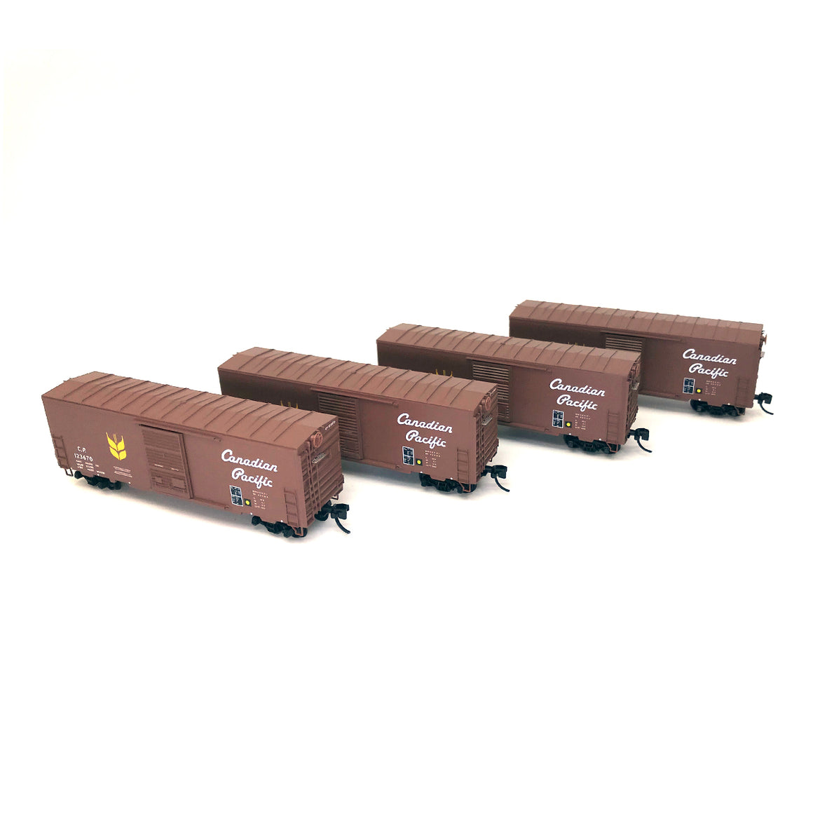 N Scale: 40' Standard Single-Door Box Car - Canadian Pacific - 4-Pack