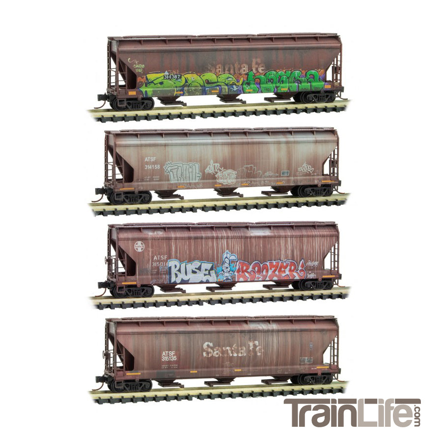 N Scale: Covered Hopper ATSF Grafitti - 4-Pack