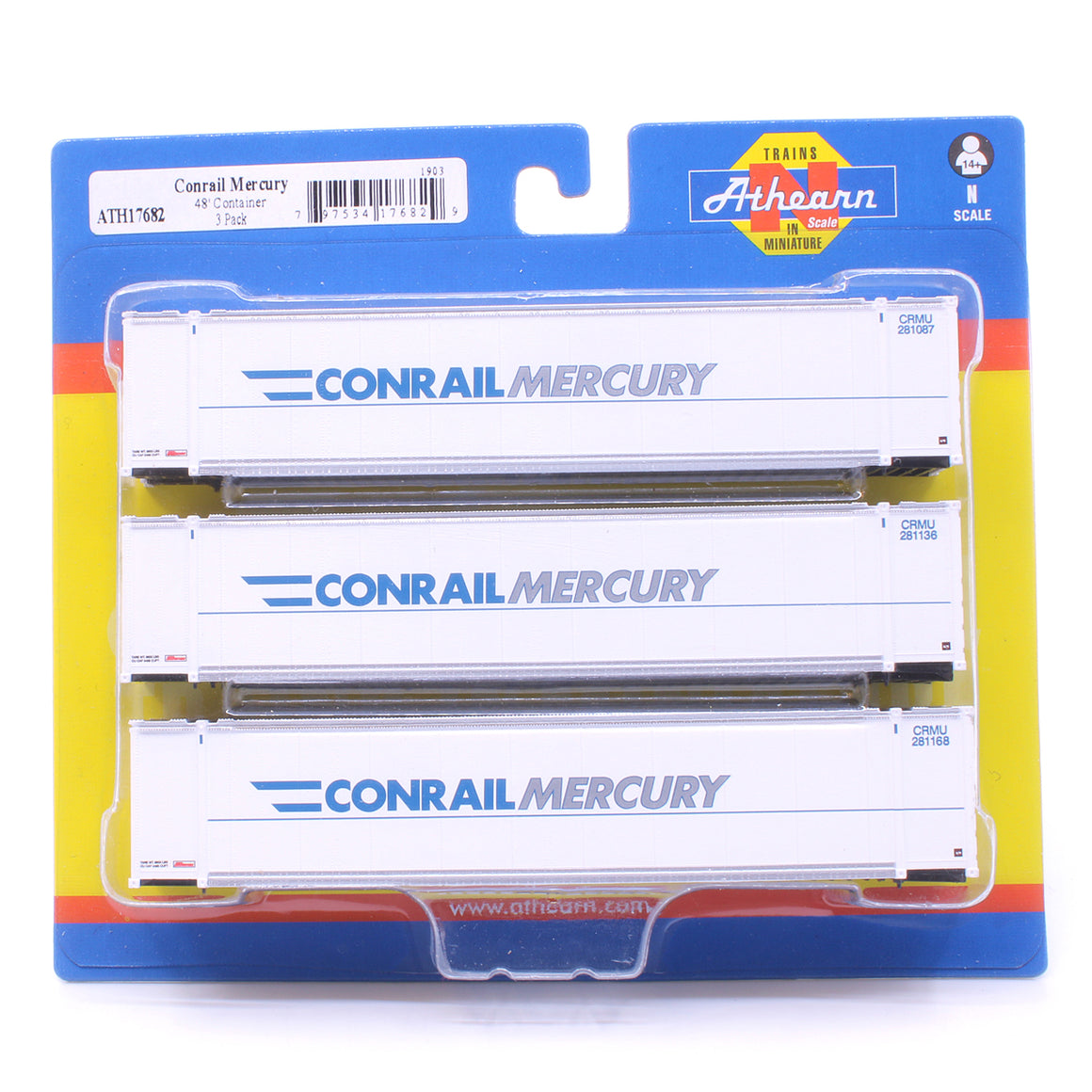 N Scale: 48' Container - Conrail 'Mercury' - 3 Pack