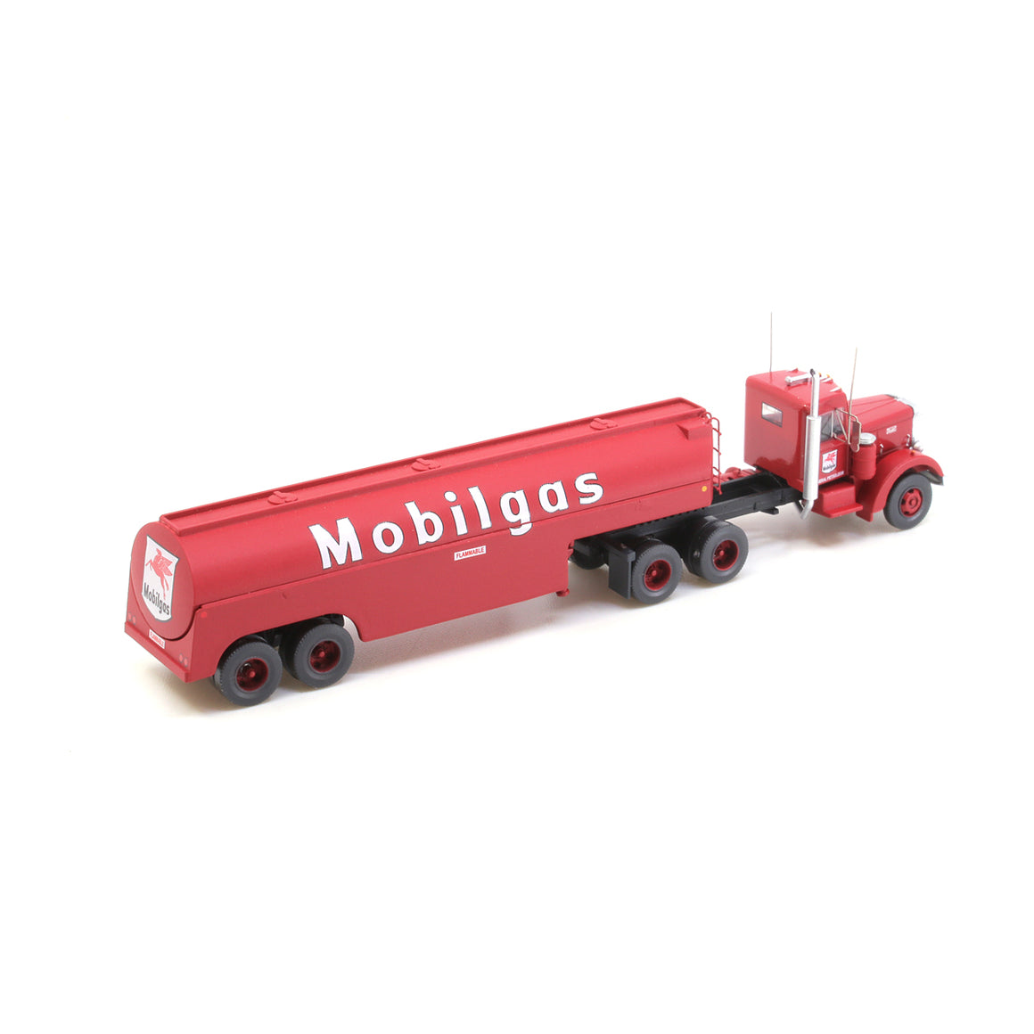 N Scale: Peterbilt 350 with Fuel Tank Trailer - Mobil
