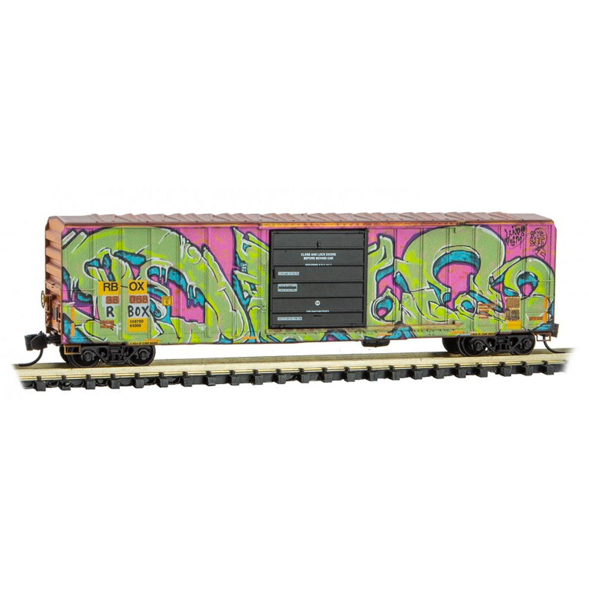 N Scale: 50' Rib Side Box Car - RBOX 'Slug Graffiti'