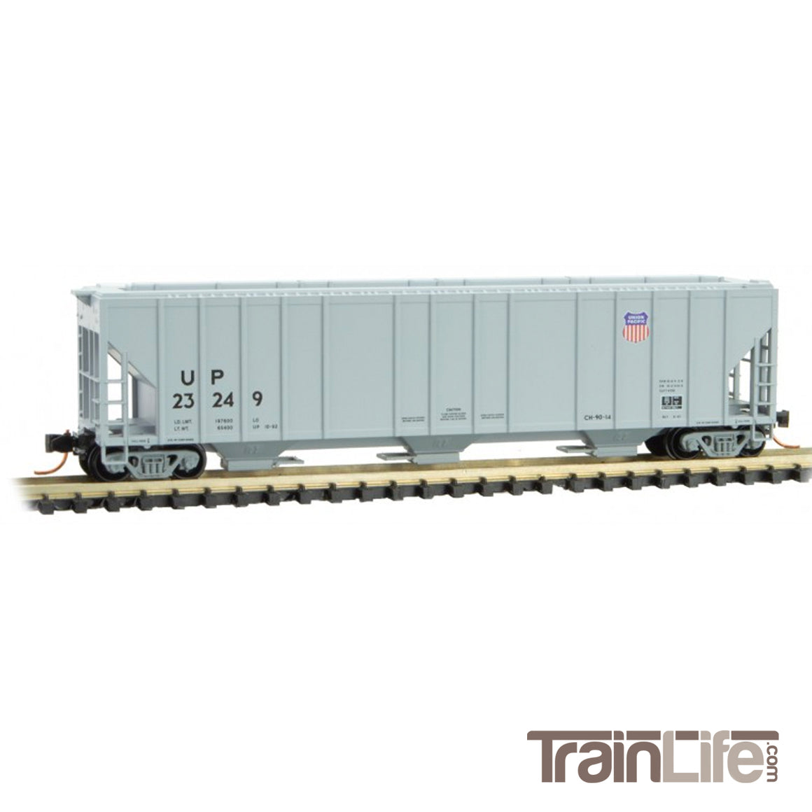 N Scale: 3-Bay Rib Side Covered Hopper - Union Pacific